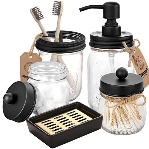 mason jar bathroom accessories set 5 pcs mason jar soap dispenser 2 apothecary jars toothbrush holder ceramic drain soap dish rustic