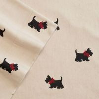 Cuddle Duds Scottie Dog Flannel Sheet Set Tan Puppies Full ...