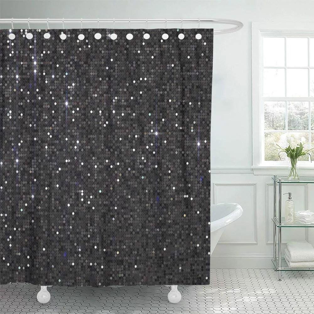 ksadk abstract dark grey black sequin bling bokeh bright celebrate celebration christmas shower curtain bath curtain 66x72 inch