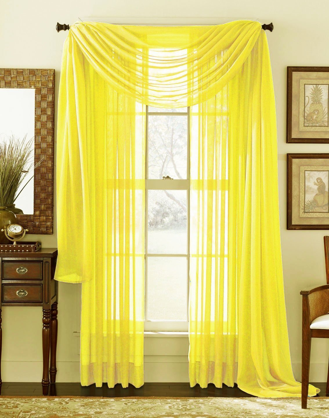 3 piece bright yellow sheer voile curtain panel set 2 yellow panels and 1 scarf