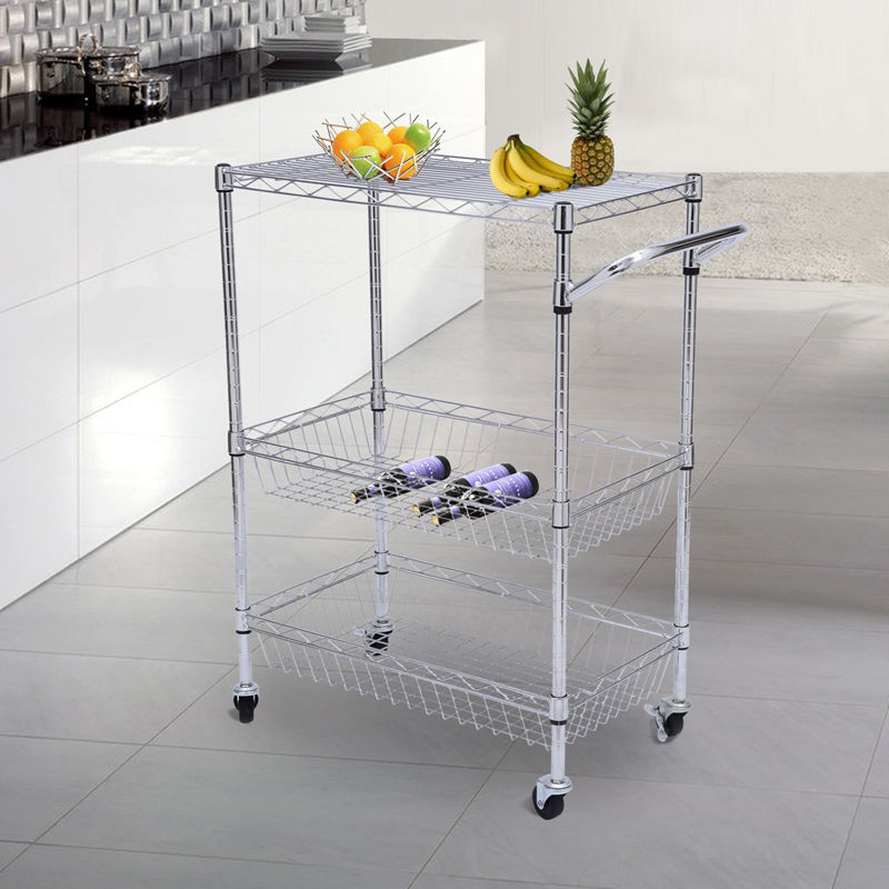 wire kitchen cart home depot cabinet doors tenive chrom 3 tier trolley rolling utility storage rack food service
