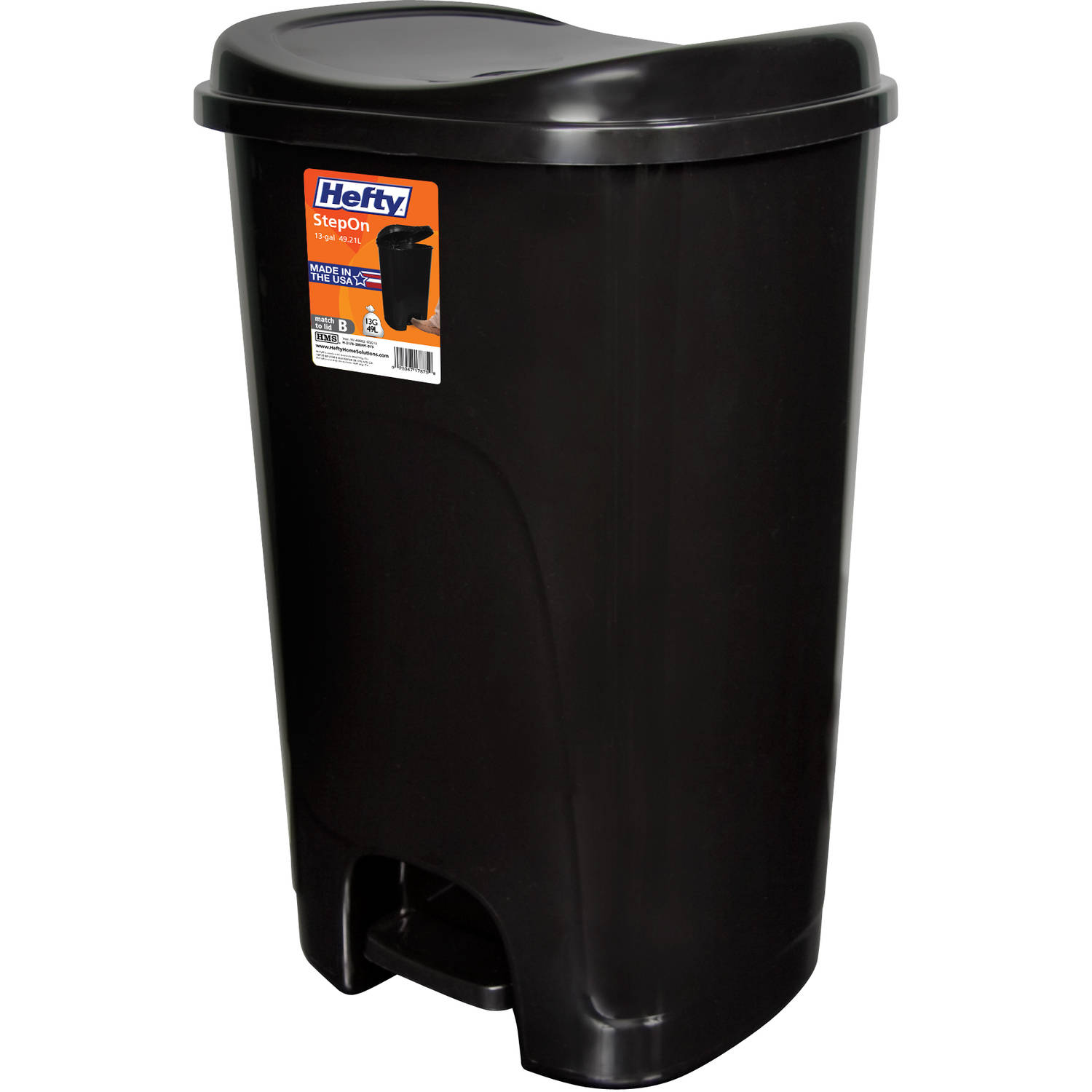 black kitchen trash bags bar stool hefty step on 13 gallon can ebay