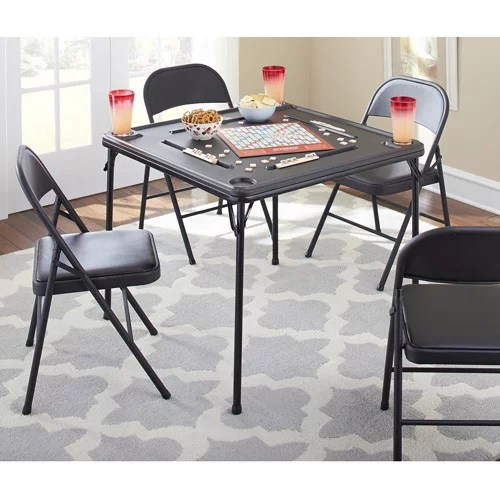 folding table and chair set bar stool covers cosco 5 piece multiple colors walmart com