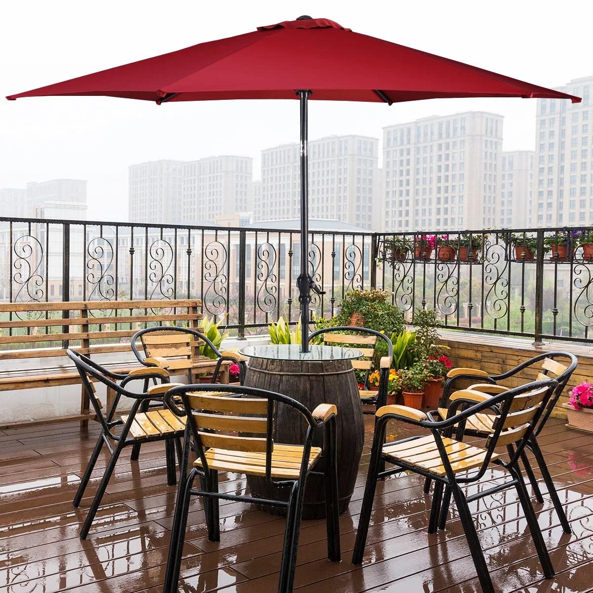 costway 10ft patio umbrella 6 ribs market steel tilt w crank outdoor garden burgundy