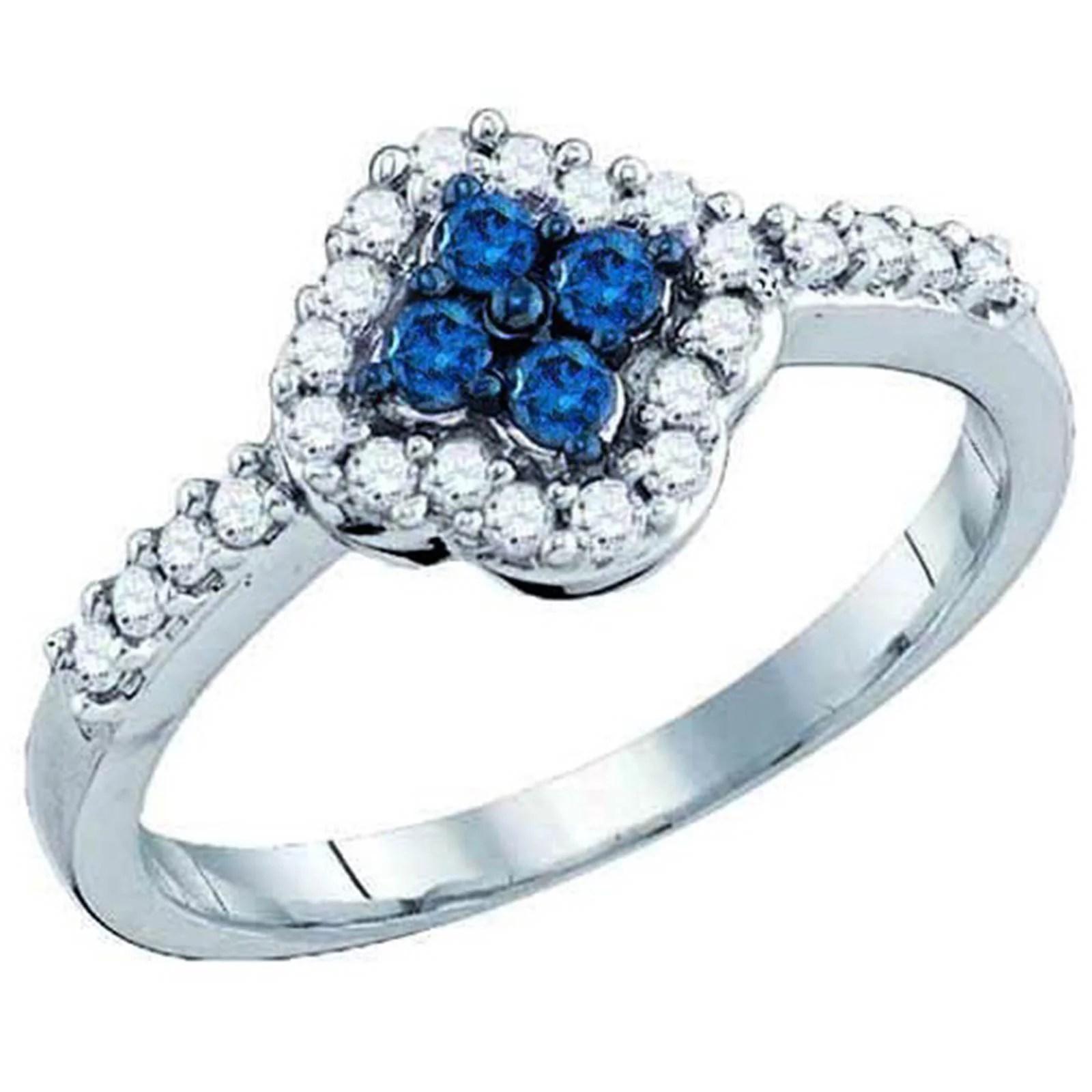 Ladies White Gold Round Cut Blue Diamond Anniversary