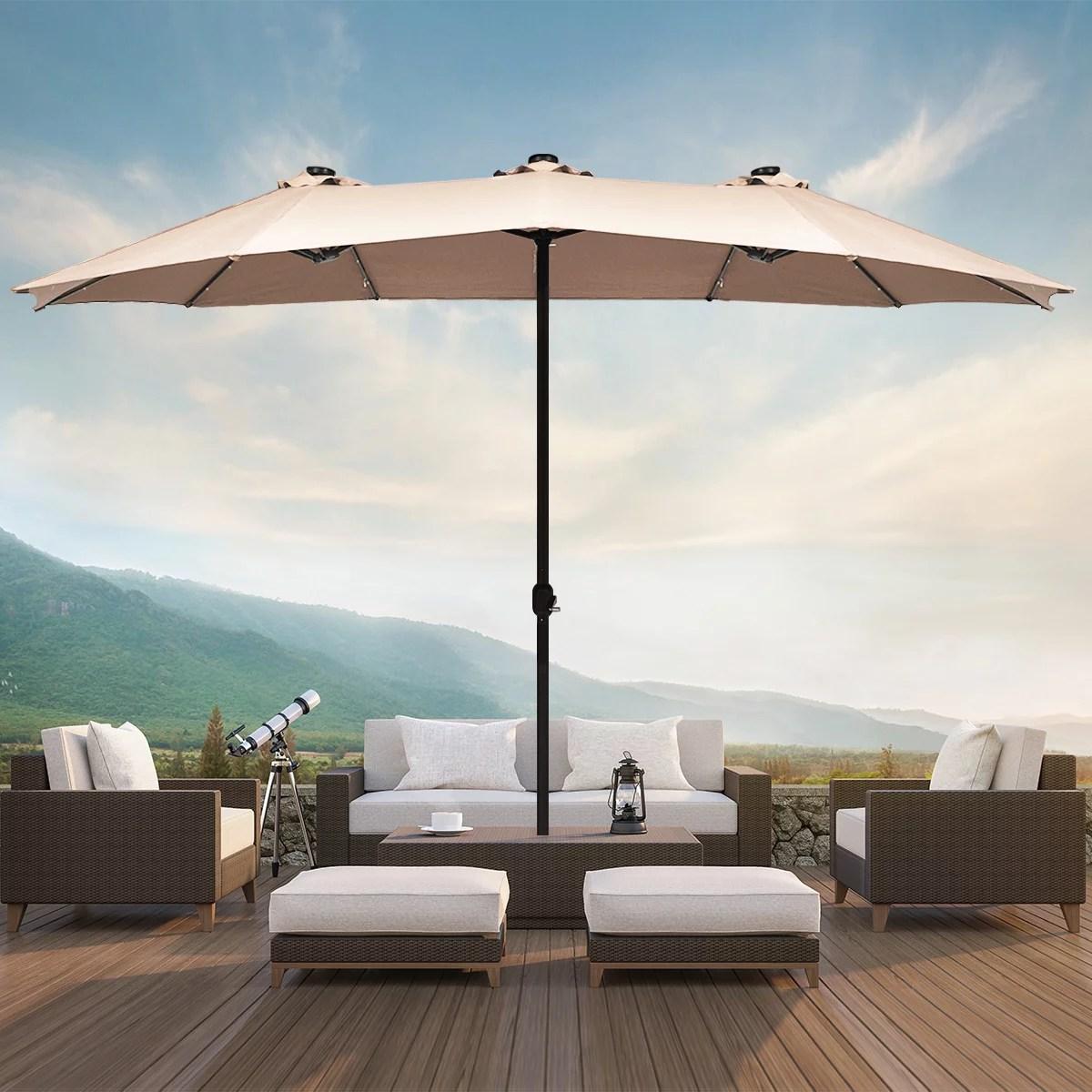 costway 15ft patio double sided solar led market umbrella crank beigetanorangeburgundy walmart com