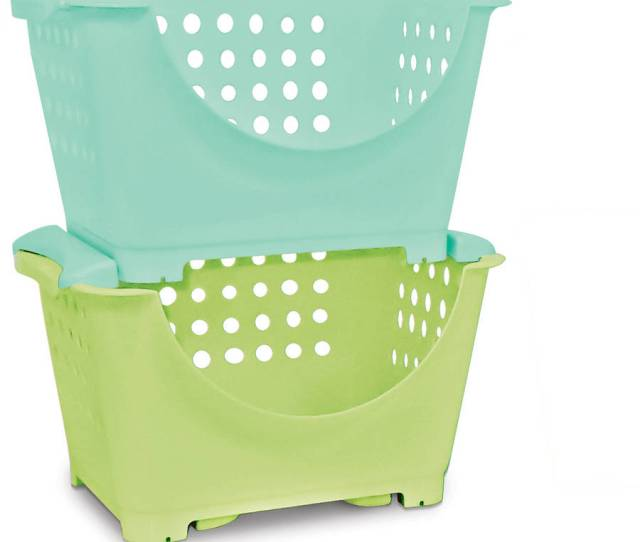 Homz Stackable Storage Bins For Kids Set Of 6 Multiple Colors Walmart Com