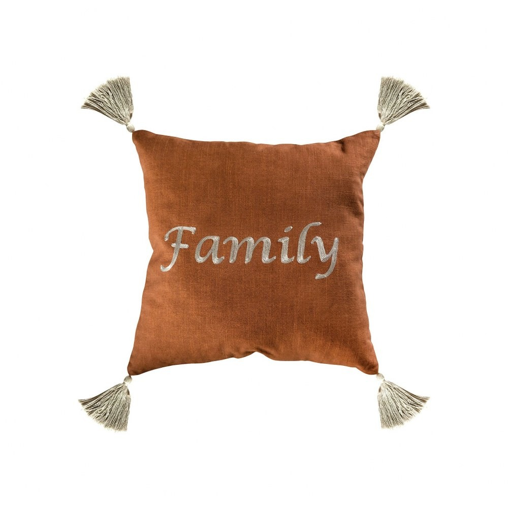 burnt orange pillow cover with off white tassles and text of the word family 20x20 inch pillow cover walmart com