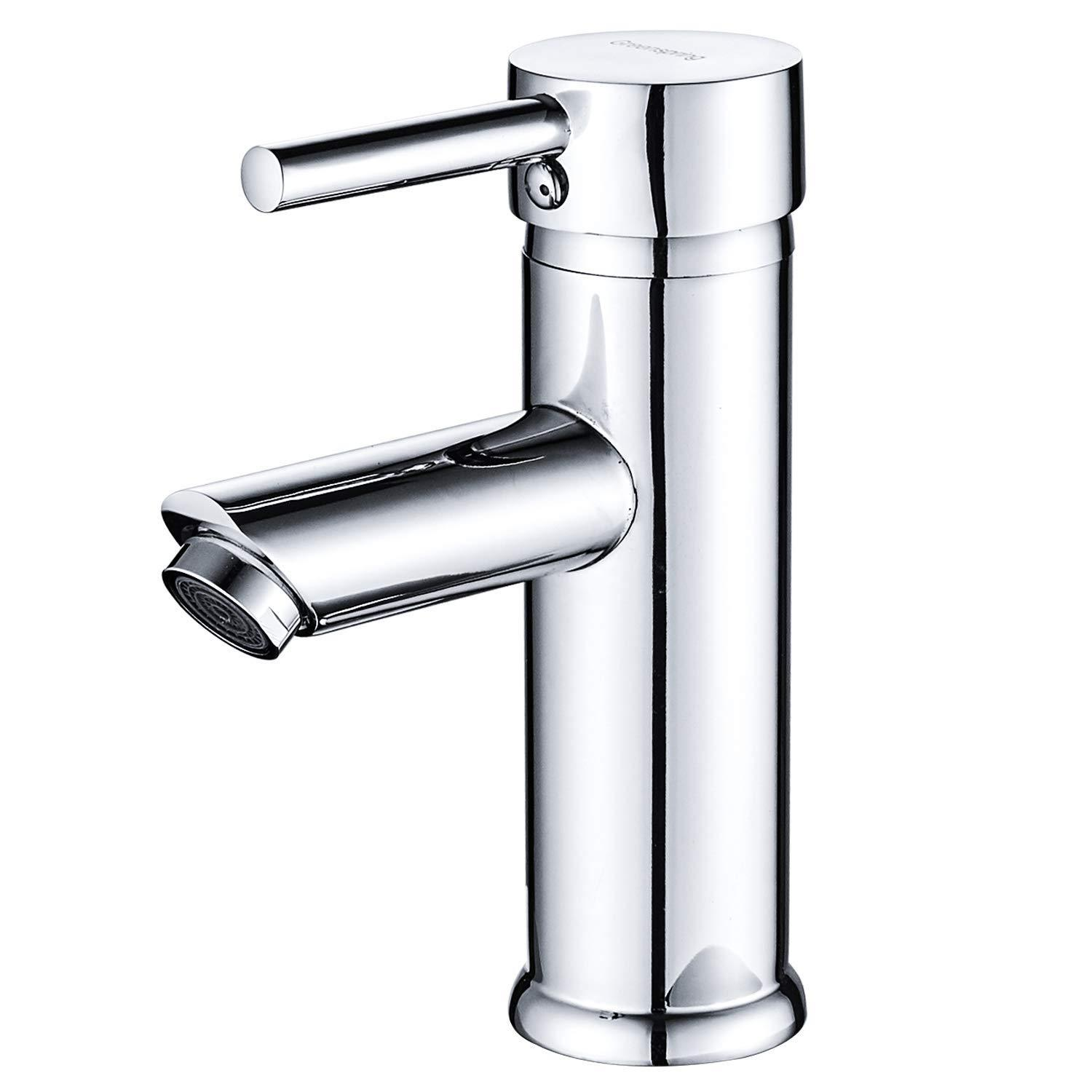 greenspring commercial single handle bathroom sink faucet one hole deck mount lavatory faucet stainless steel chrome finish