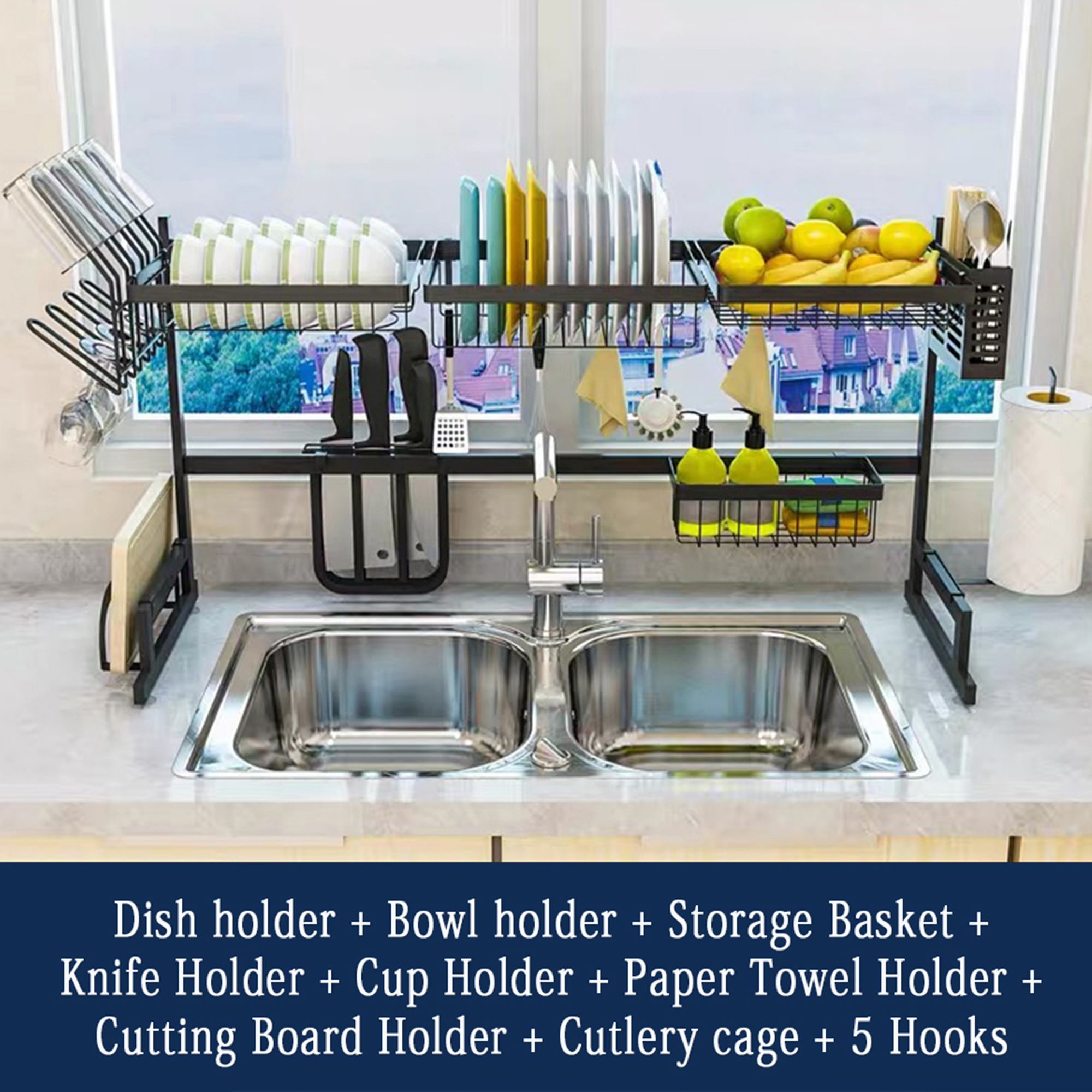 nk 26 34 2 dish drying rack over sink drainer shelf for kitchen drying rack organizer supplies storage counter kitchen space saver utensils