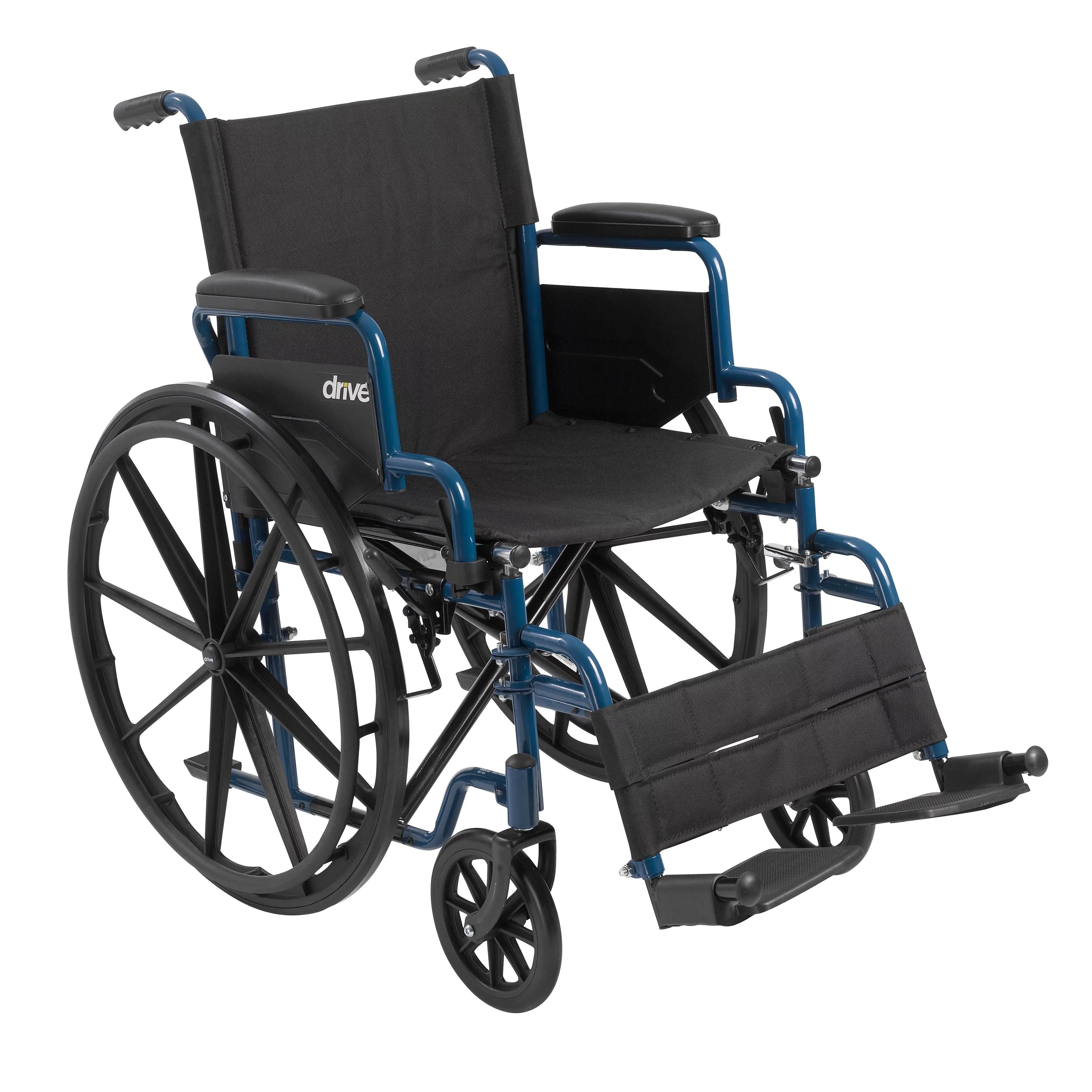 drive wheel chair best chairs swivel glider medical blue streak wheelchair with flip back desk arms swing away footrests 18 seat walmart com