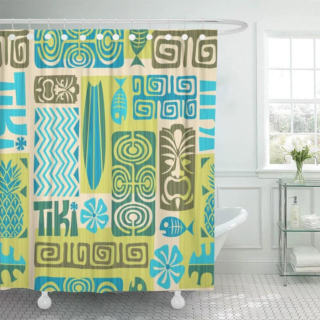 cynlon colorful hawaiian exotic tiki pattern tribal flower surfboard tahiti bathroom decor bath shower curtain 66x72 inch