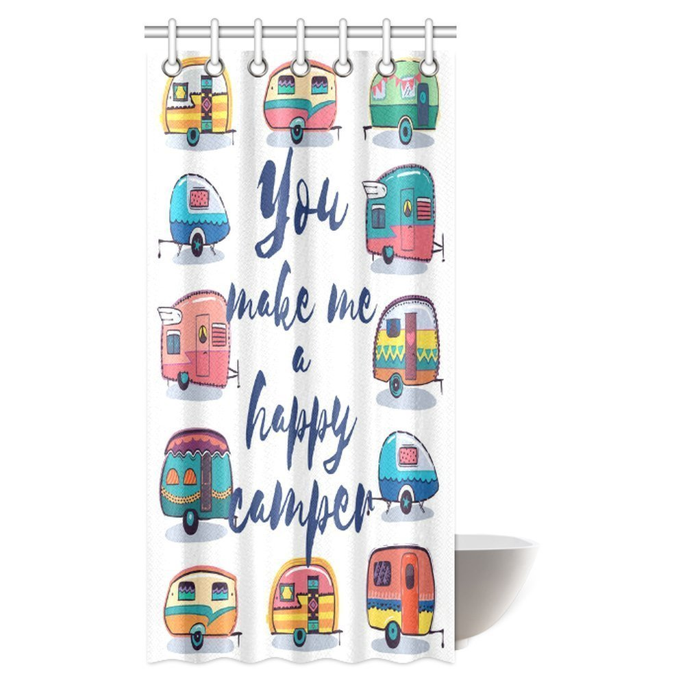 mypop camper shower curtain you make me happy camper motivational quote with caravans retro style travel graphic bathroom shower curtain with hooks