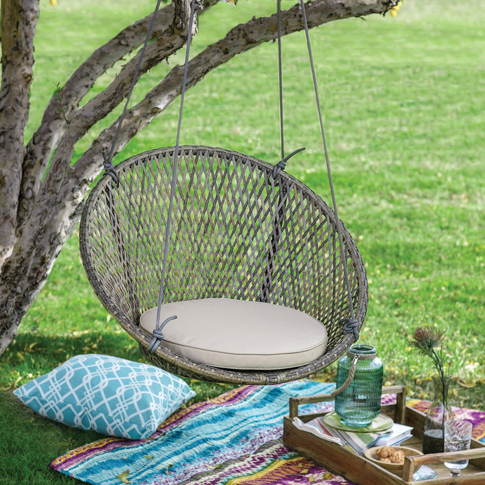 hanging chair swing kneeling design plans outdoor chairs walmart com product image belham living saria resin wicker single with seat pad