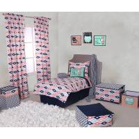 Bacati - Emma Aztec Coral/Mint/Navy 4-Piece Toddler ...
