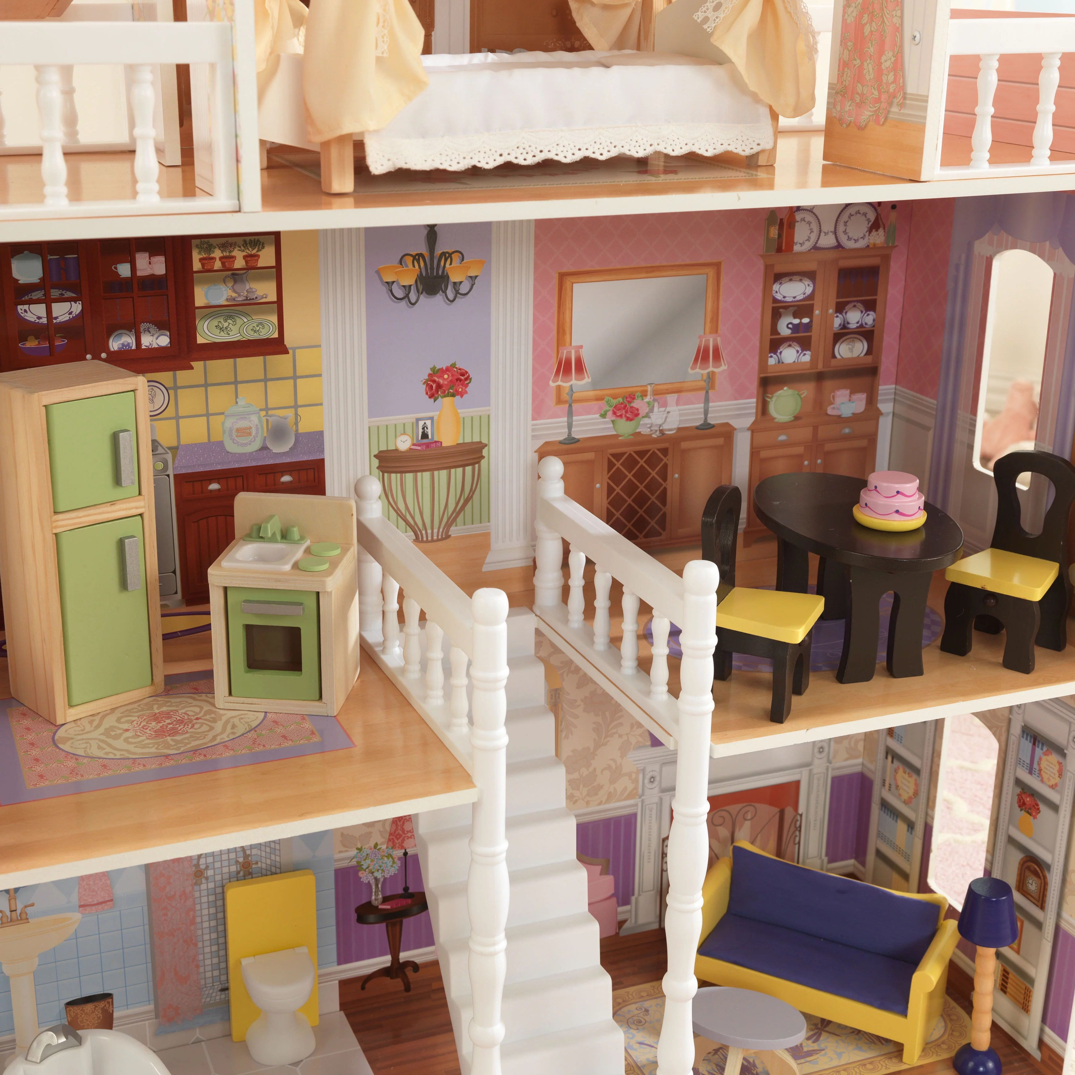 kidkraft doll high chair hanging outdoor chairs dollhouse house furniture girls mansion toy play