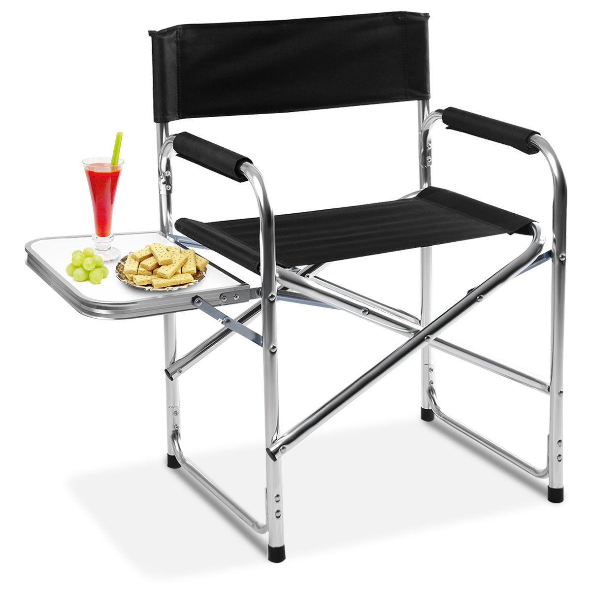 outdoor folding chair with side table polywood lounge costway aluminum director s camping traveling walmart com