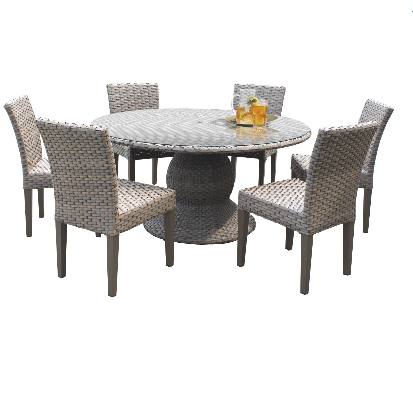 harmony 60 inch outdoor patio dining table with 6 chairs