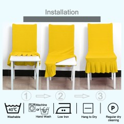 Yellow Spandex Chair Sashes Rocking With Cushions India Stretchy Ruffled Skirt Short Dining Room