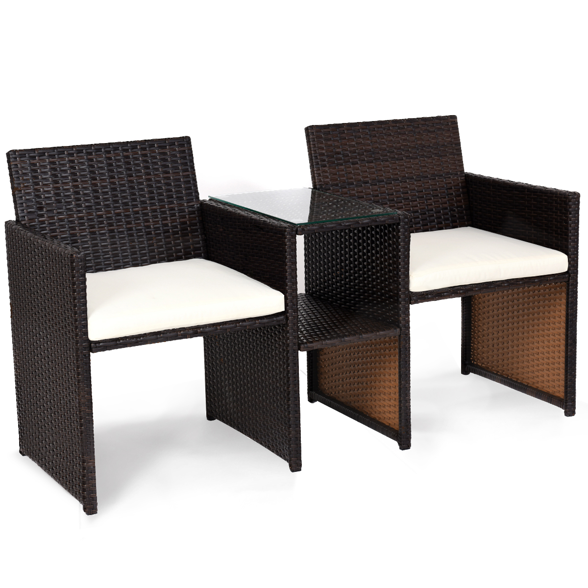 two seat lawn chairs barber chair restoration gymax cushioned patio rattan loveseat sofa table walmart com