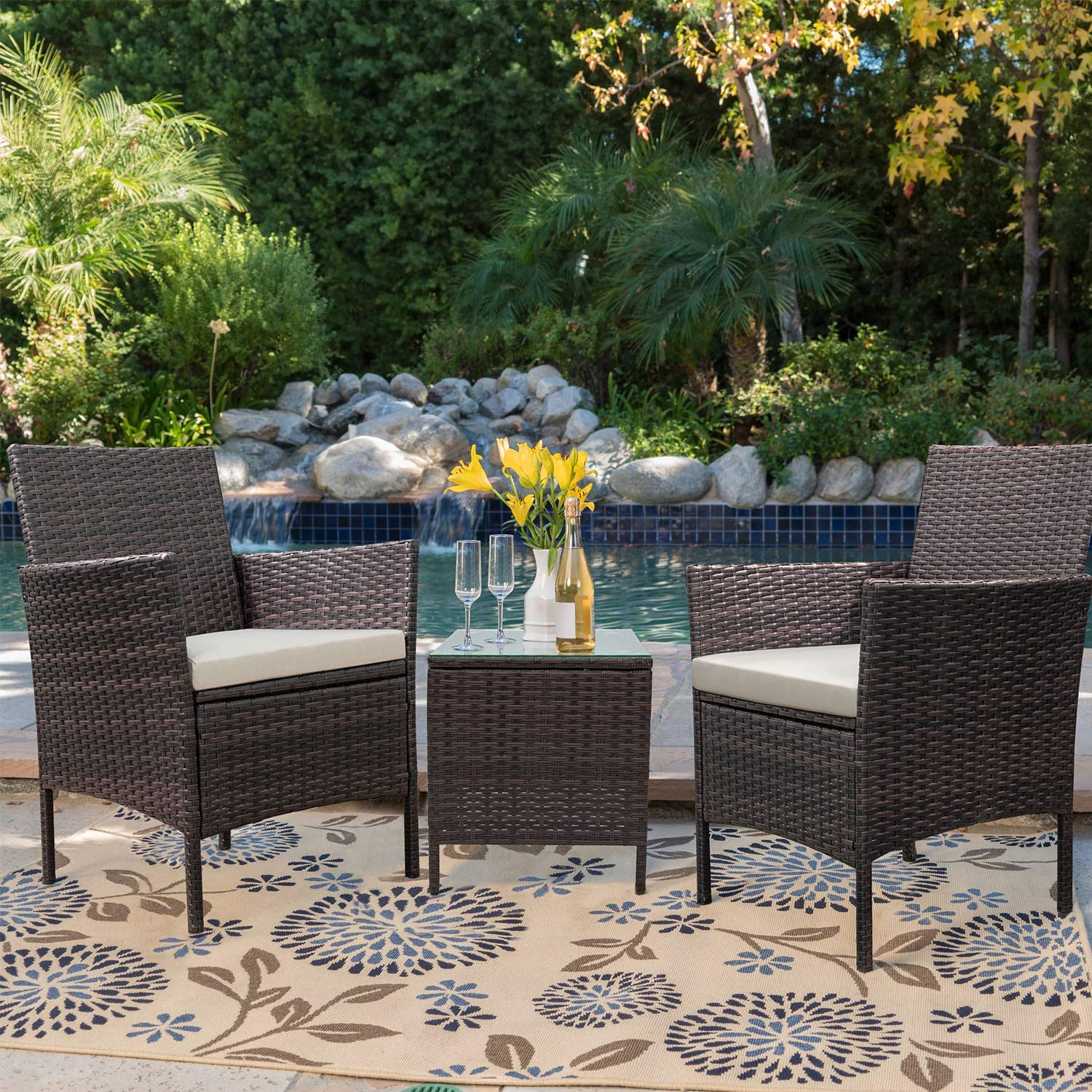 walnew 3 pcs outdoor patio furniture pe rattan wicker table and chairs set bar set with cushioned tempered glass brown beige
