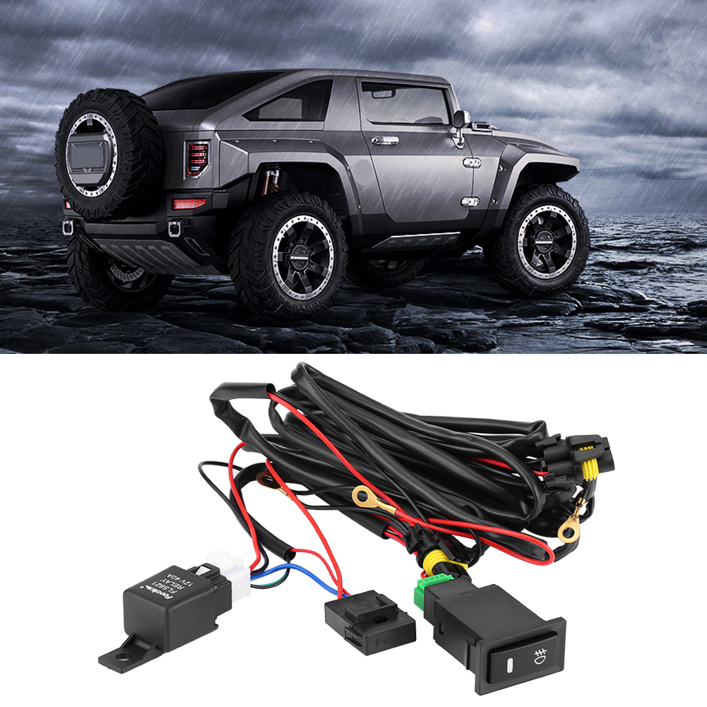 hight resolution of 12v universal car led fog light on off switch wiring harness fuse relay kit on off switch relay on off switch wiring walmart com
