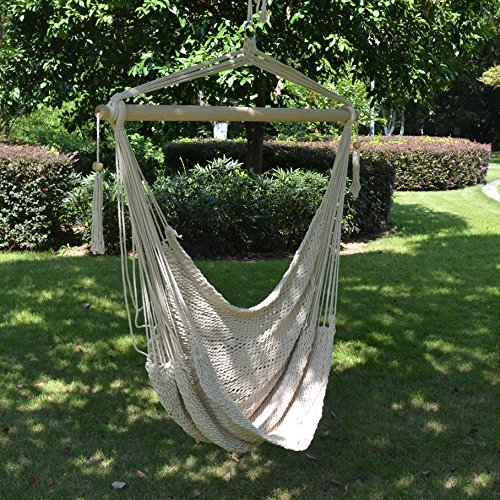 hanging chair rope cost of reupholstering a strong camel swing cotton hammock patio porch garden outdoor walmart com