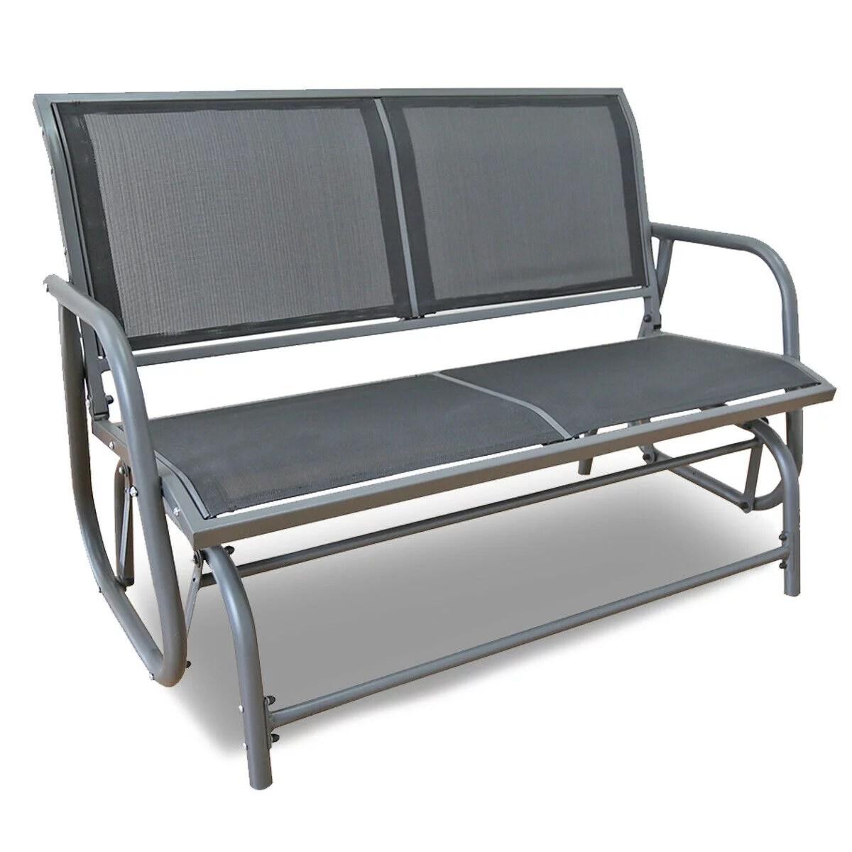 outdoor patio swing glider bench chair dark gray