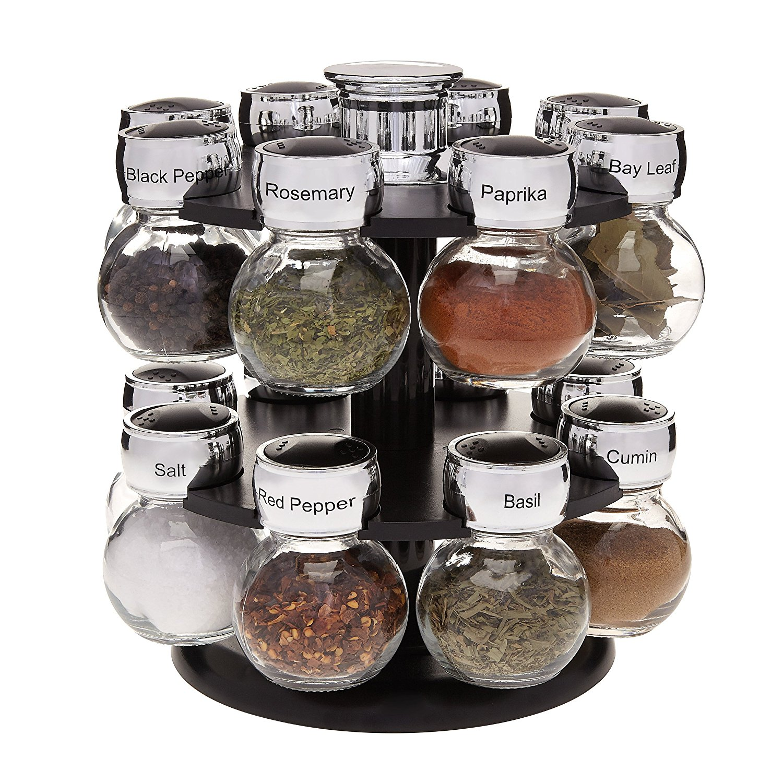 kitchen spice rack marshalls miko spinning with 16 labeled jars organizing set walmart com