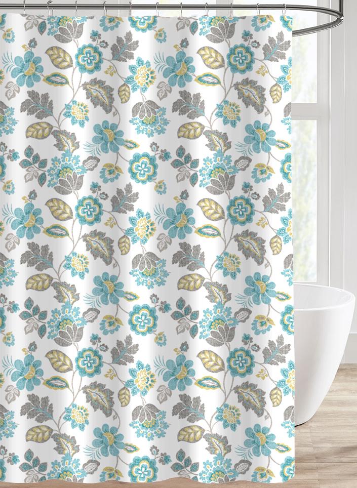 teal blue flowers shower curtain for bathroom