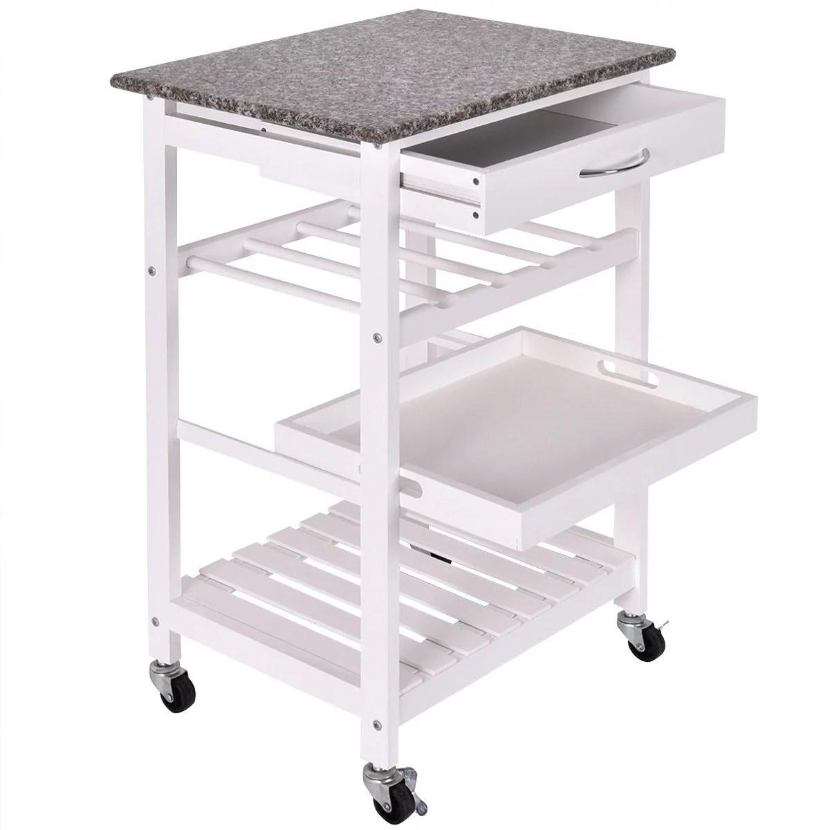 kitchen trolley cart kids play sets 4 tier rolling wood island storage shelf drawer wine rack