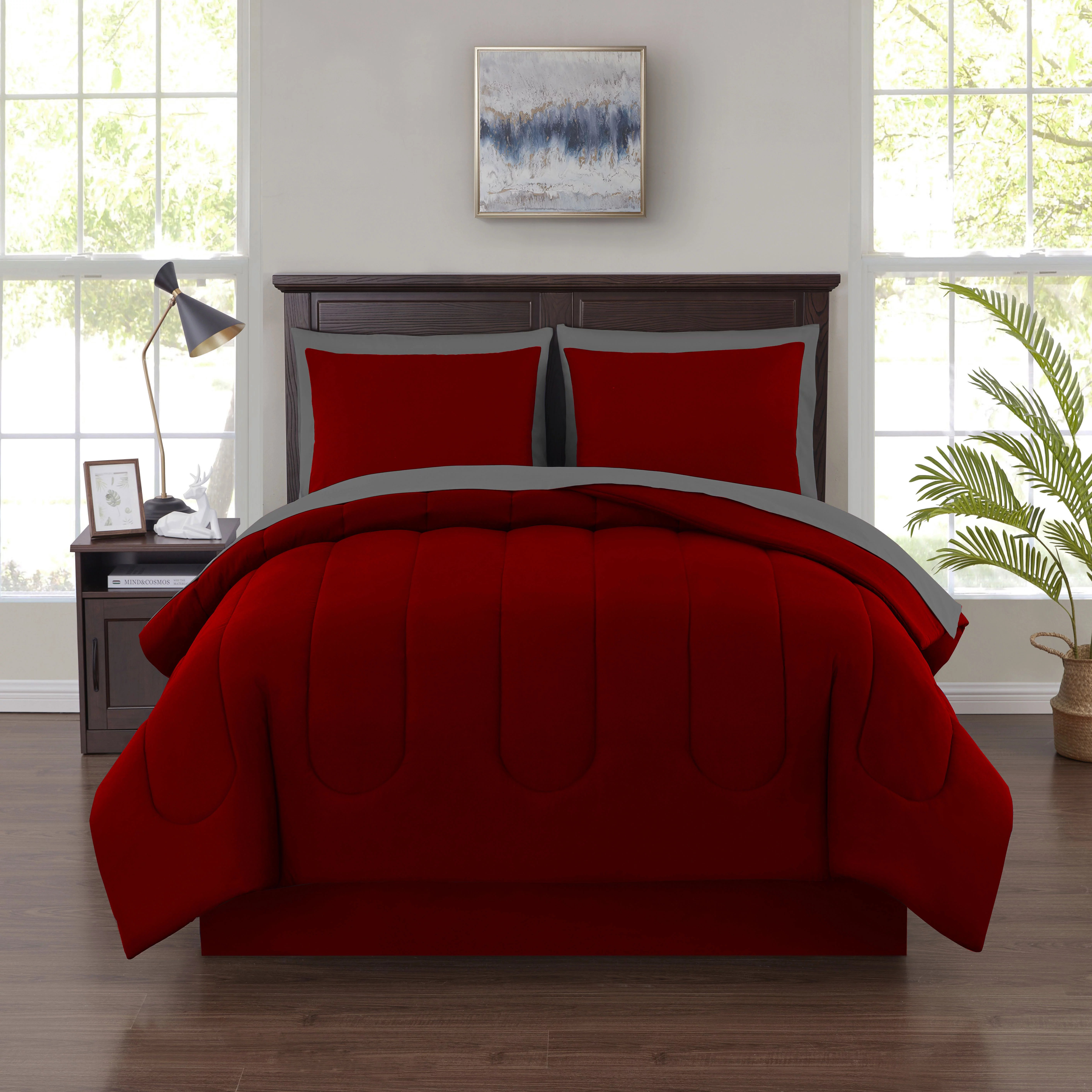 mainstays 6 piece solid bed in a bag bedding comforter set twin red
