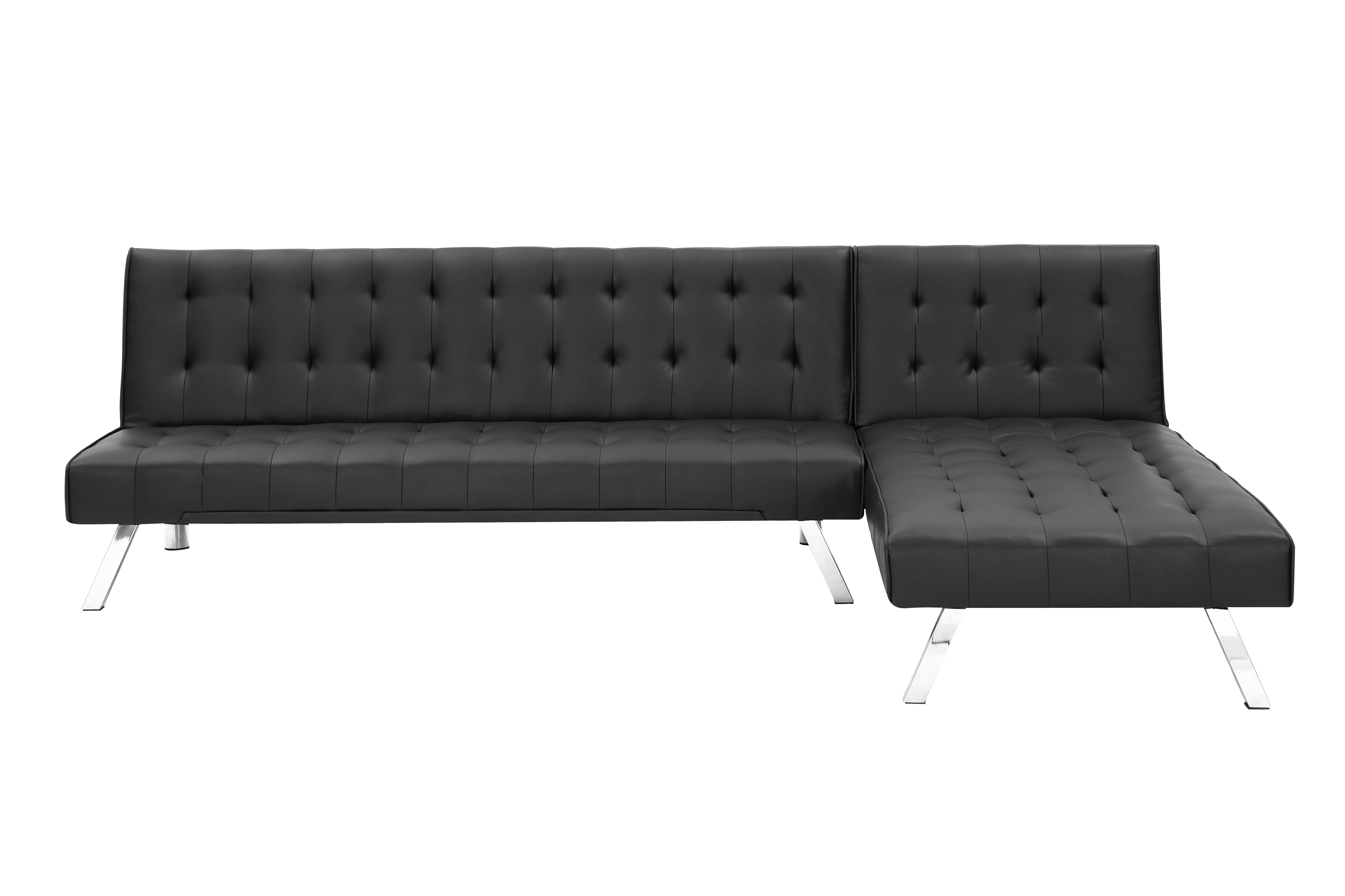 reversible black soft pu leather sofa with metal legs and hardwood frame mid century black pu leather couch tufted sofa bed with chaise lounge for living room 300lbs black s8891 walmart com