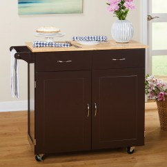 Large Kitchen Cart Country Curtains For Target Marketing Systems With Rubberwood Top Espresso Walmart Com