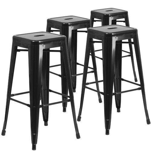 outdoor bar chairs copper dining flash furniture 30 high backless metal indoor stool with square seat 4 pack black walmart com