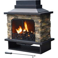Sunjoy Felicia Steel Wood Outdoor Fireplace - Walmart.com