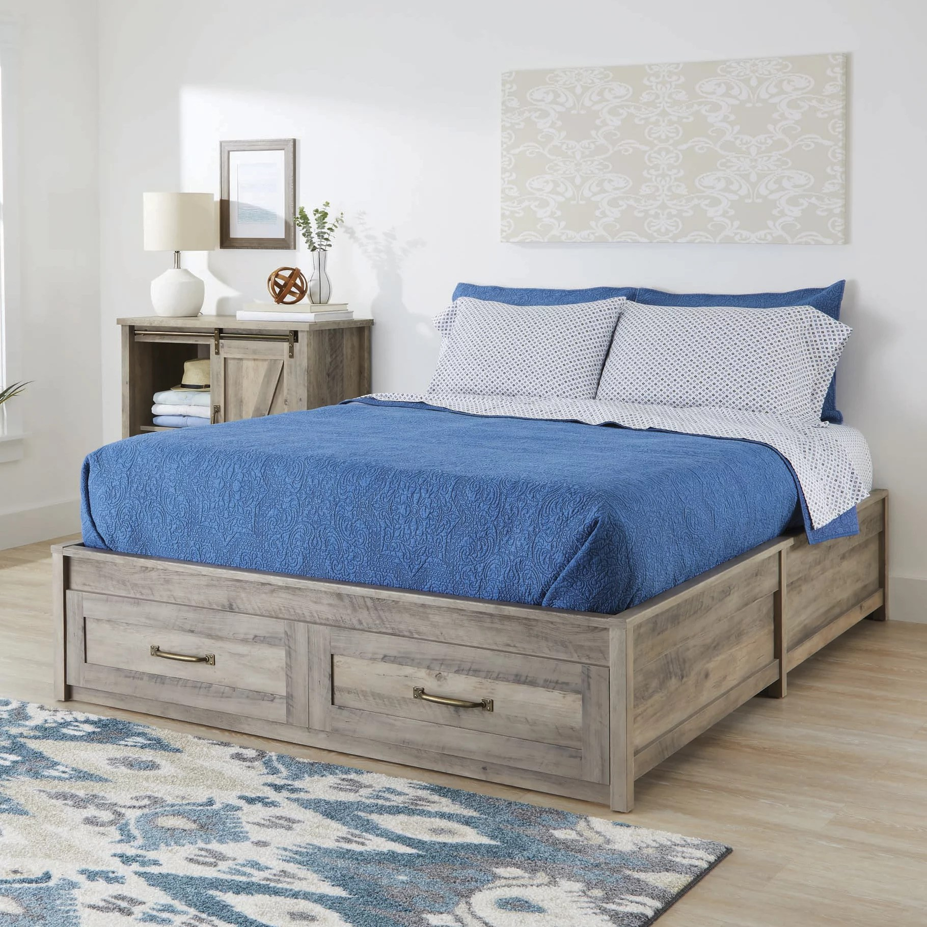 better homes gardens modern farmhouse queen platform bed with storage rustic gray finish