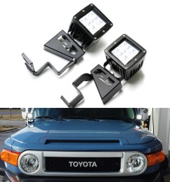 ijdmtoy 2 24w high power dually 2x3 led pod lights w front windshield cowl light mounting brackets on off switch relay for 2007 2014 toyota fj cruiser [ 1500 x 1500 Pixel ]