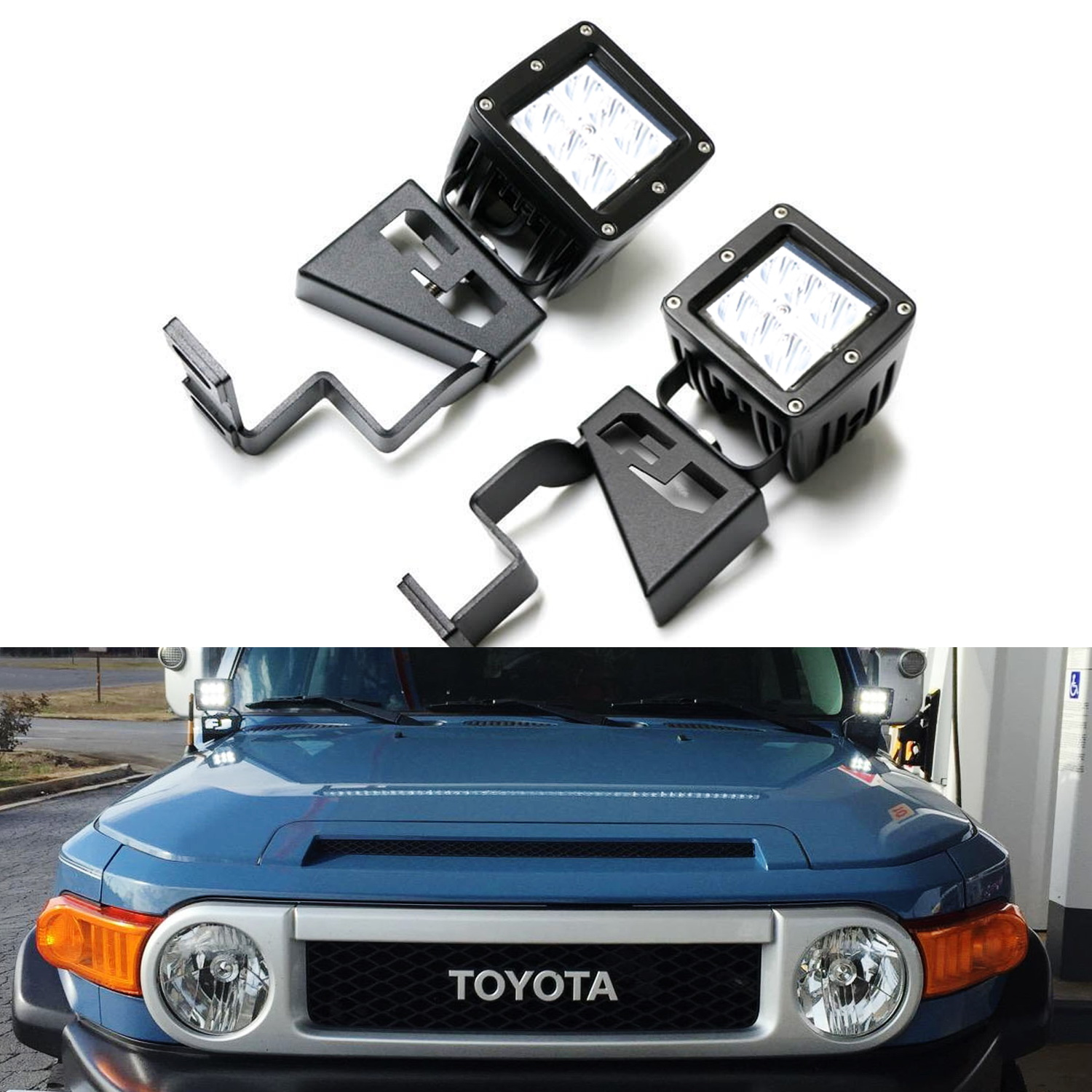 hight resolution of ijdmtoy 2 24w high power dually 2x3 led pod lights w front windshield cowl light mounting brackets on off switch relay for 2007 2014 toyota fj cruiser