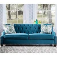 Furniture of America Elsira Premium Velvet Cerulean Blue ...