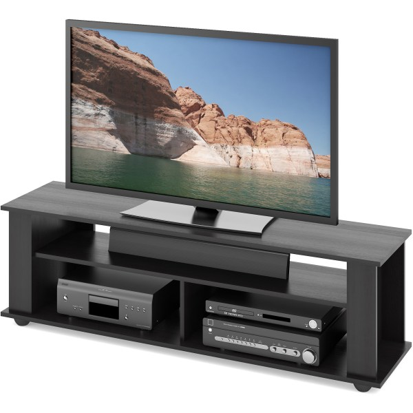 Black Tv Stand Tvs 65 Entertainment Center Media Storage Shelf