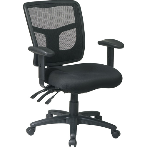 office chair with adjustable arms lane recliner chairs progrid back managers 2 way black mesh seat walmart com