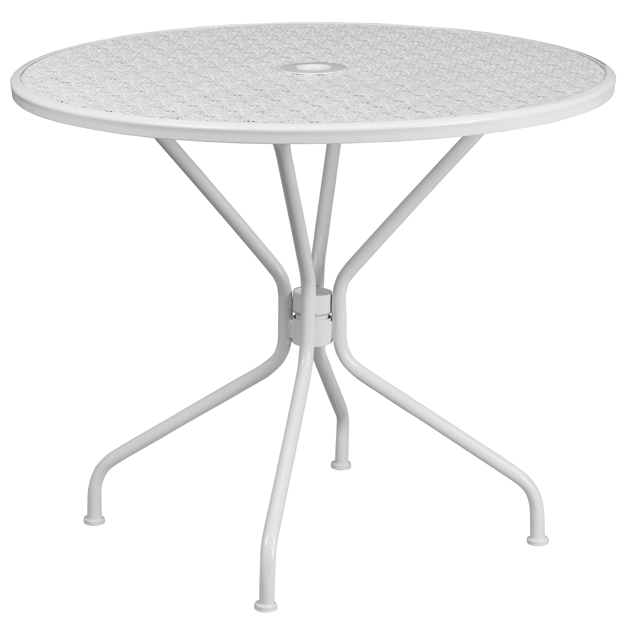 35 25 white contemporary round outdoor patio table with umbrella hole walmart com