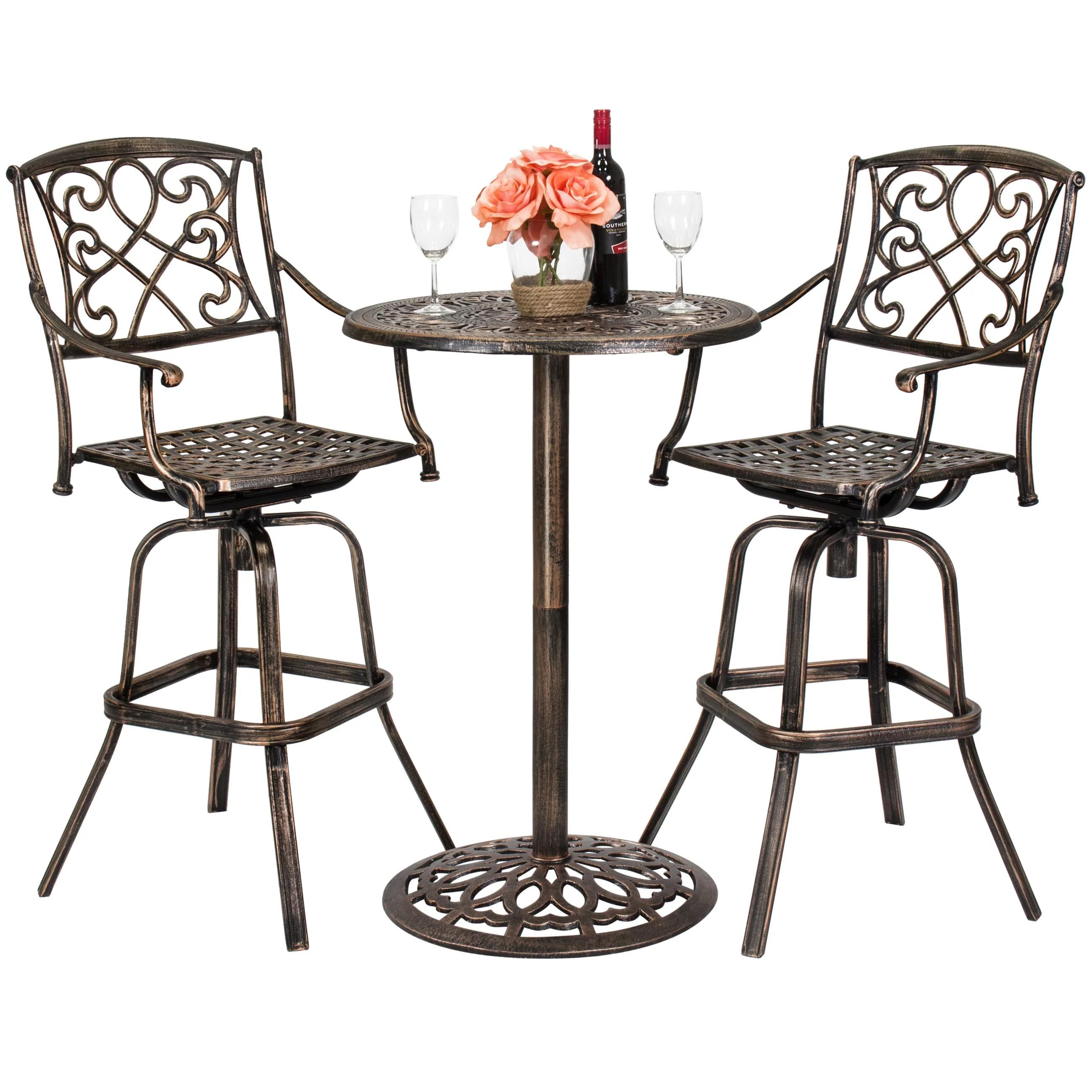 best choice products 3 piece outdoor cast aluminum bar height patio bistro set w 2 360 swivel chairs antique copper walmart com