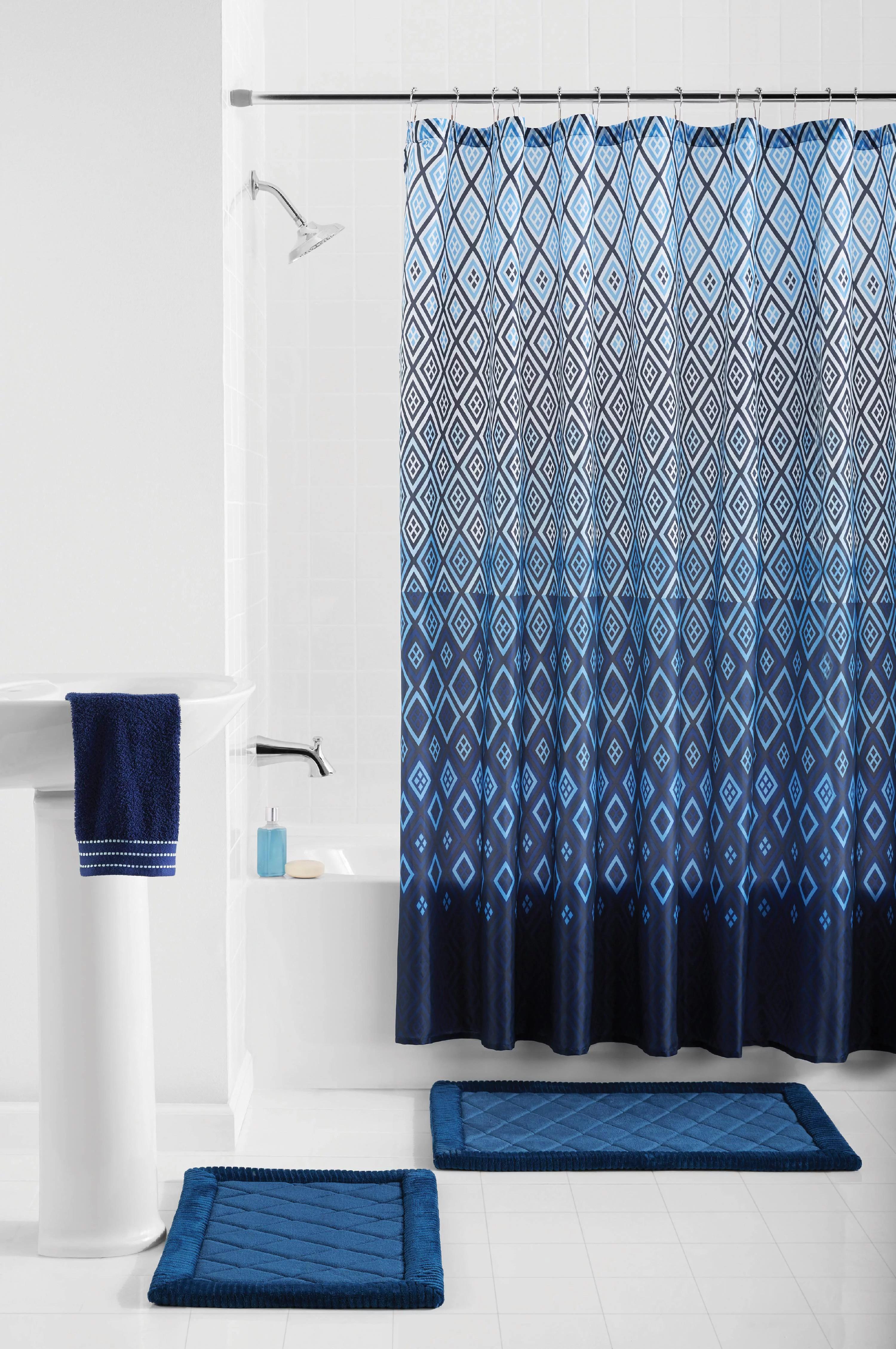 mainstays stockholm geometric polyester shower curtain bath set blue 15 pieces walmart com