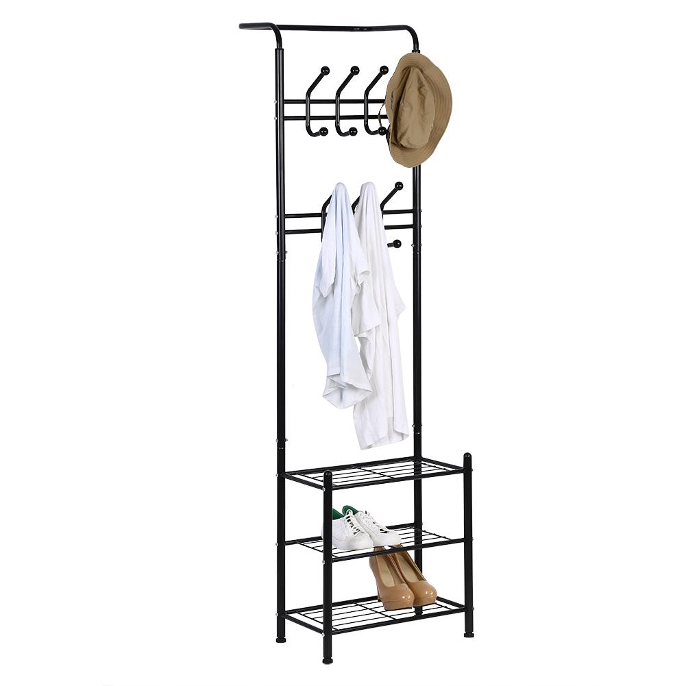 mgaxyff metal coat hat rack free standing clothes stand with 18 hooks and 3 tier shoe rack entryway metal coat hat rack coat hat rack