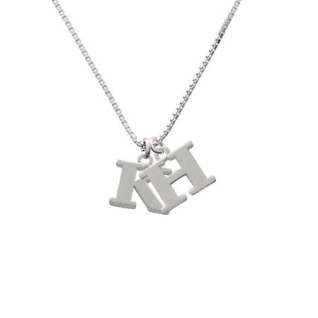 Silvertone Large Initial K H Initial Necklace