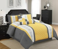 Legacy Decor 7 Pc Grey, Yellow and White Striped Comforter ...