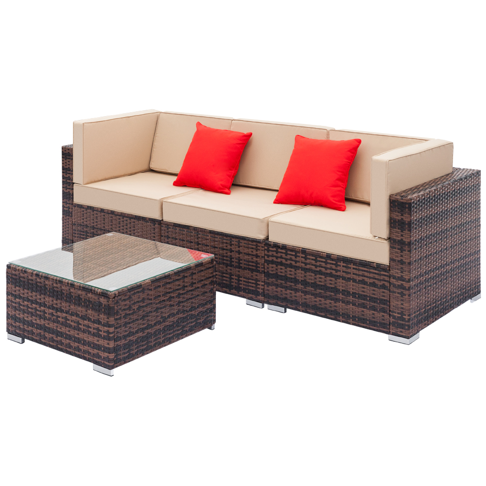 sectional outdoor patio furniture sets segmart 4 pieces outdoor wicker furniture set with beige seat cushions tempered glass coffee conversation
