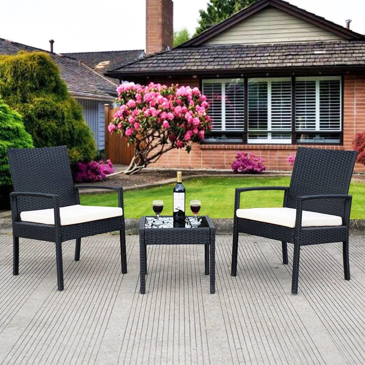 deal 3 ps outdoor rattan patio furniture set backyard garden furniture